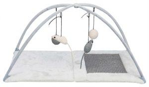 Trixie krabmat met speeltjes aan koord grijs